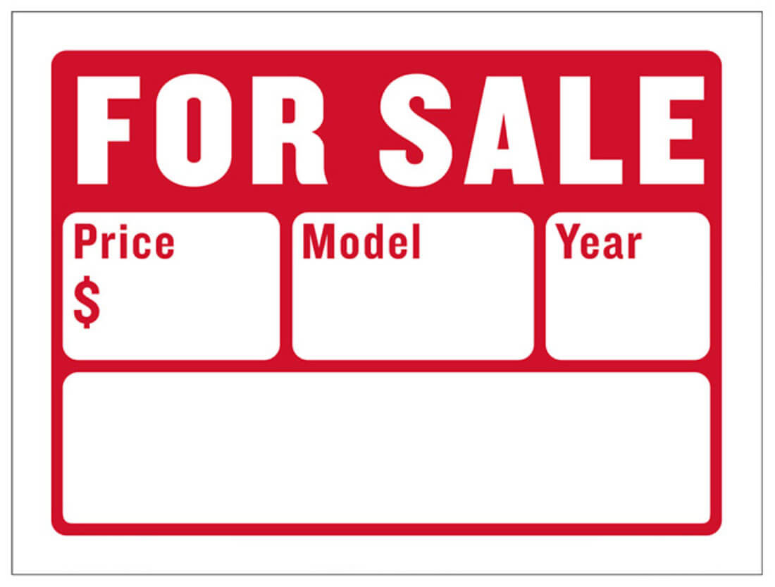 For Sale Sign with Price, Model, Year