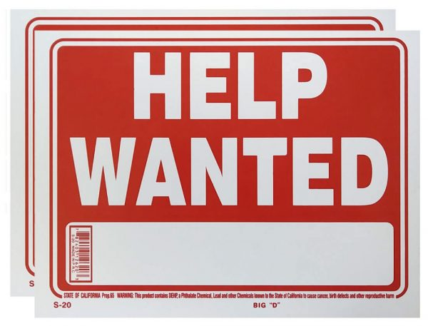 Help Wanted Sign 2 Pack S-20