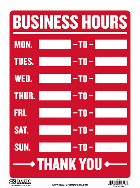 """Business Hours"" Sign S-23"