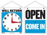 """Open/Come In and Will Return with Clock"" Sign"