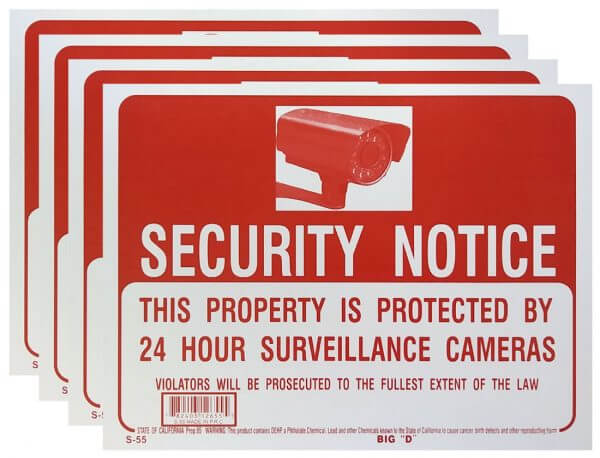 Security Notice Sign 4 Pack