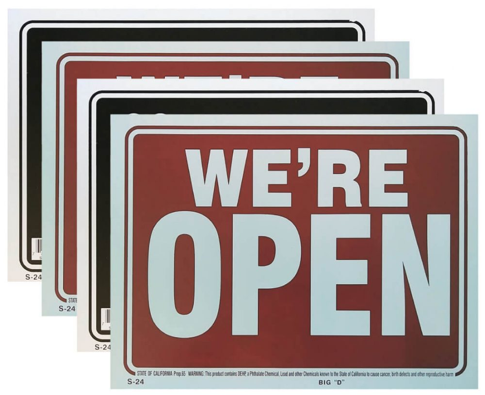 We're Open/Sorry We're Closed Signs 4 Pack S-24