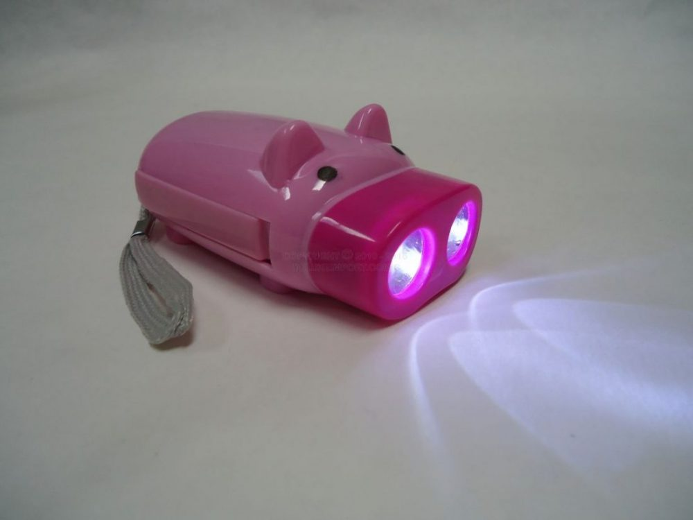 light led piggy flashlight with light on