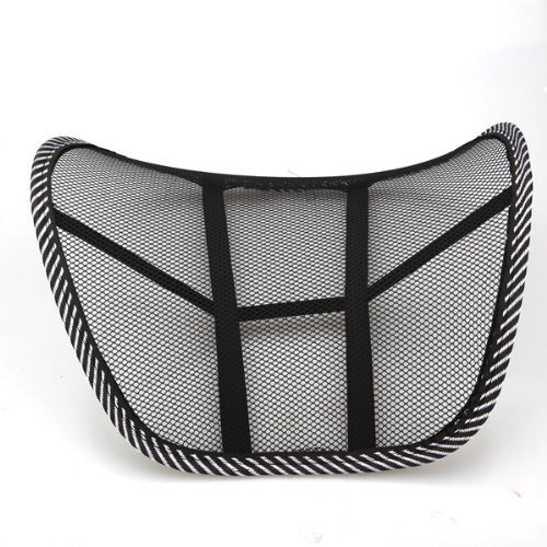 DLUX Set Of Practical Black and White Grid Air Flow Breathable Office & Seat Posture Lumbar Support Mesh