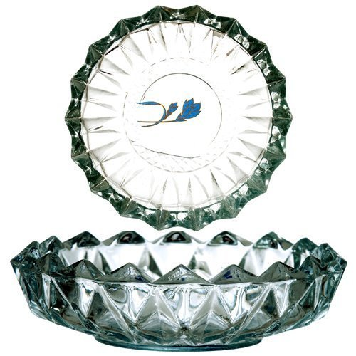 "6.5"" Glass Crystal Round Design Smoking Ashtray Bowl or for Appetizers & Nuts & H'orderves / Hors-d'oeuvre"