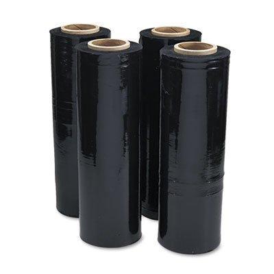 Black Stretch Film, 18w x 1, 500ft Roll, 20mic (80-Gauge), 4/Carton