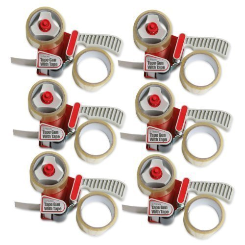 Buffalo Tools TAPEDIS3-6 Tape Gun Set with 12 Rolls of Packing Tape - 6 Piece