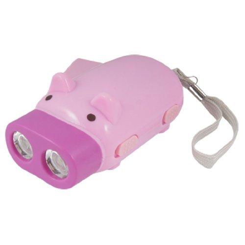 Cartoon Pig Shape 2 LED Emergency Pressing Flashlight Pink Fuchsia