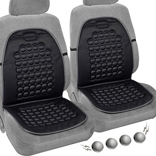 DLUX 007 Comfortable Set of 2 Premium Magnetic Bubble Car Seat Cushion- Massage Therapy - 2pc Padded Cover (Black)