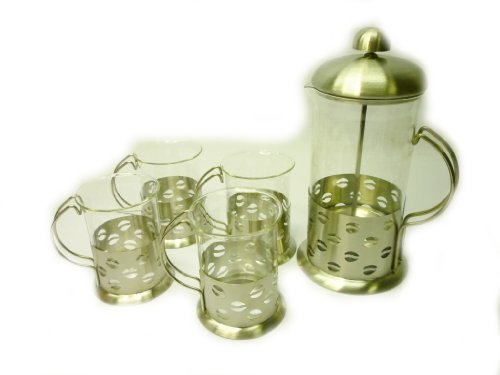 DLUX 5PC Set tea & coffee stainless steel clear glass