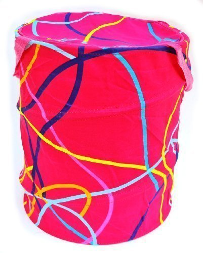 DLUX Laundry Hamper Pop up Collapsible Circular Barel High Quality Durable Tough Storage Organizer Space Saving Decorative Awesome Gift Hamper, Zipper Closing Top Lid, 17.5 inch height, 14.5 inch Diameter (Hot Pink)