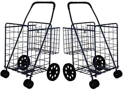 DLUX Set OF 2 Large Heavy-Duty Black Folding Utility Cart Swivel Wheels & Extra Basket