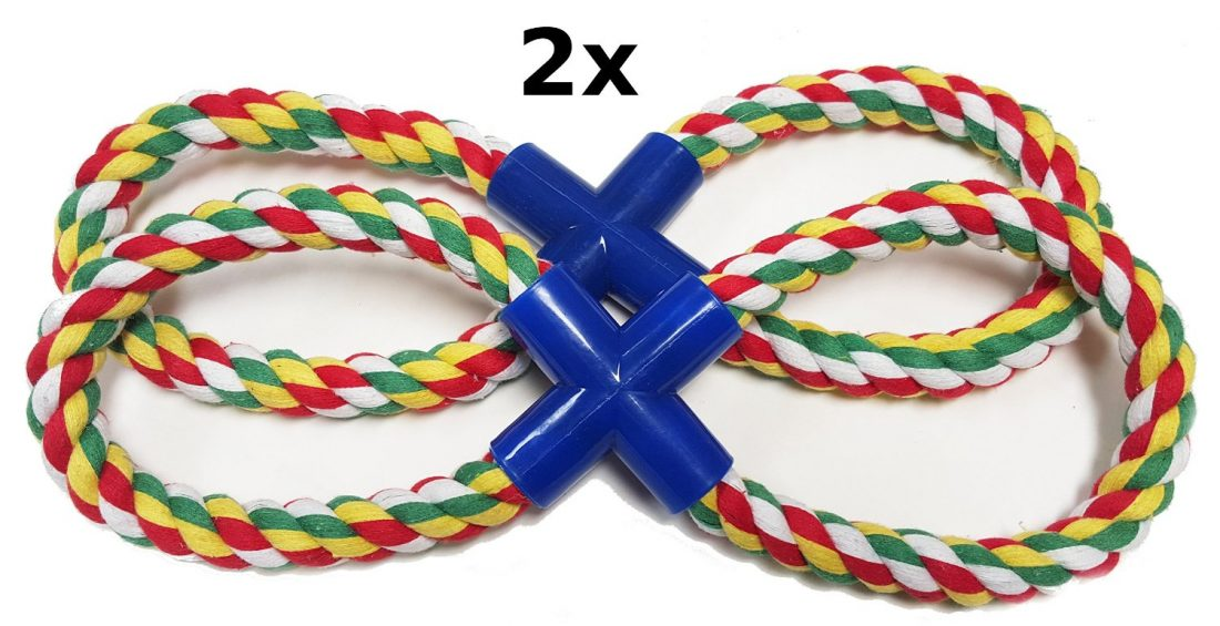 """DLUX Set of 2, Figure Eight Tug-O-Rope Durable 13"""" Pet Toy"""