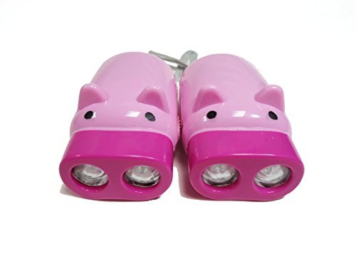 DLUX Set of 2 Portable Rechargeable LED Hand-Pressing Piggy Flashlights For Camping, Emergency With Wrist Strap, PINK