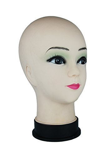DLUX TM Female Cosmetology Bald Mannequin Manikin Training Wig Hat Model Costume Display Head