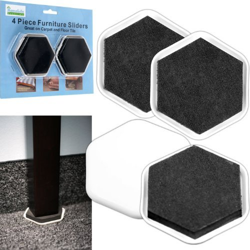 Home Life Essentials Furniture Sliders - 4 Pc. Use These Incredible Sliders to Move Any of Your Heavy Furniture, Fridge, Bookcase, Sofa, You Name It! Great on Carpets and Floor Tiles, Just Slide in and Push No Adhesive Needed