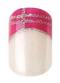 Party Nails, Pre Glued, False Nails, 12 (French Pink, silver lines)