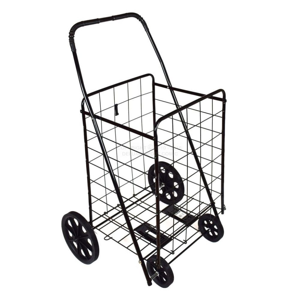 DLUX Black Extra Large Heavy Duty Folding Shopping Cart