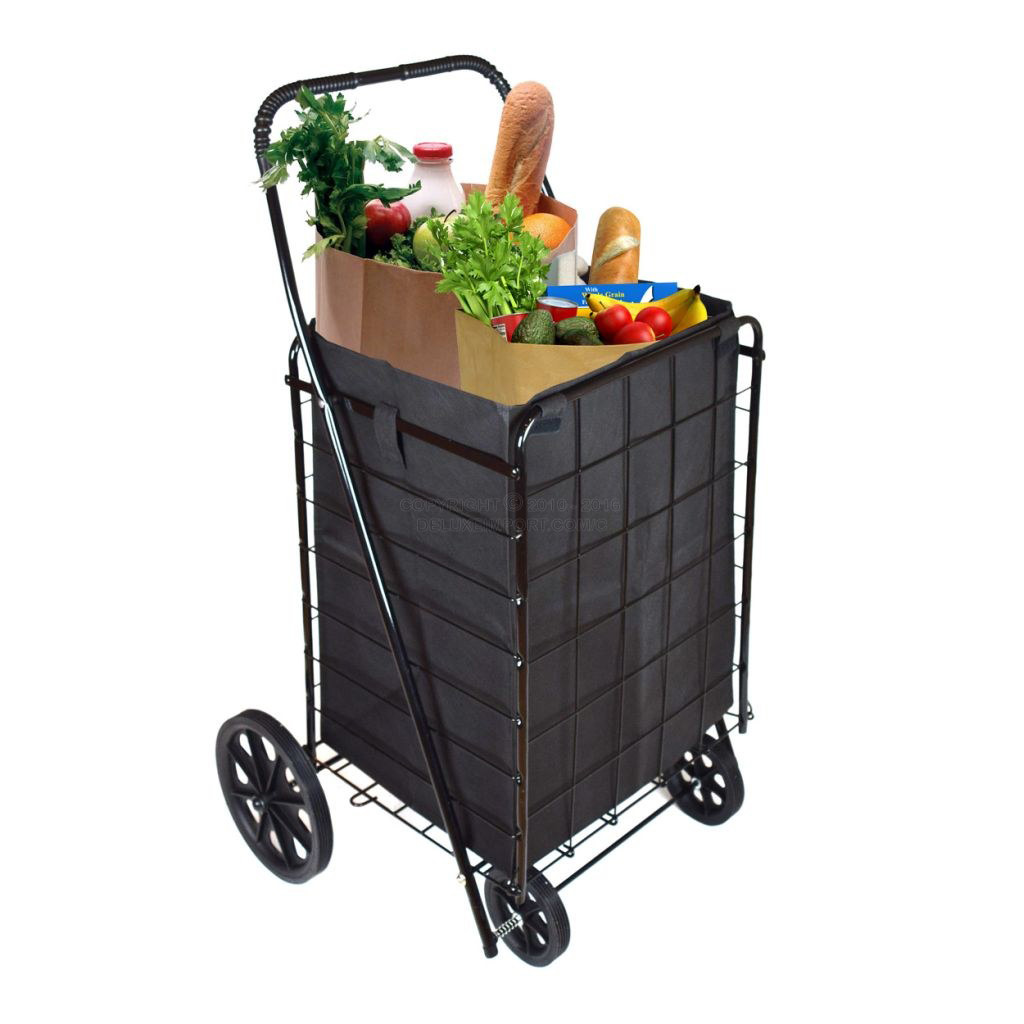 DLUX Set Of 2 Extra Large Heavy-Duty Black Folding Utility Cart Folds Up Rolling Storage Shopping Carrier with BONUS LINER