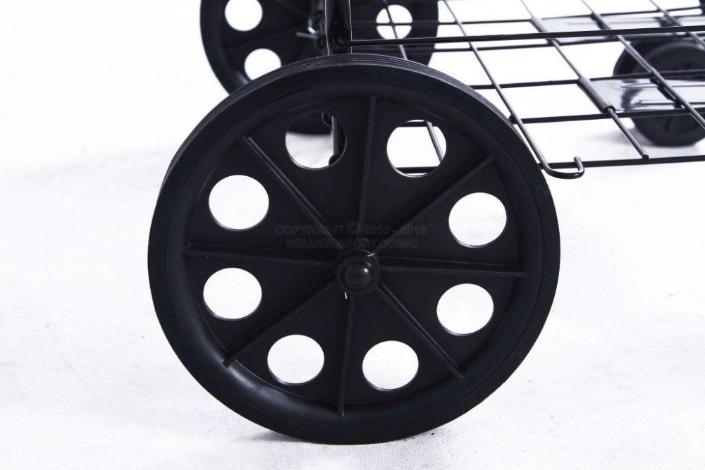 DLUX Black Shopping Folding Cart With Front Swivel Wheels And Bonus Extra Basket With Liner- Jumbo size