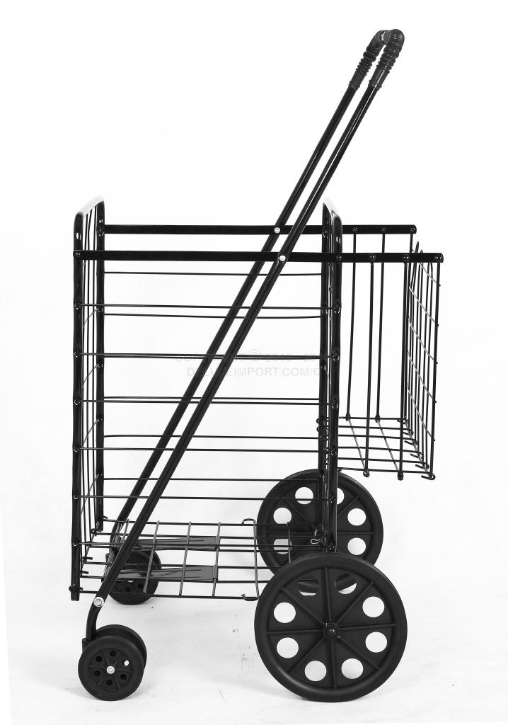 DLUX Folding Shopping Cart with Swivel Wheels & Double Basket (Black, Red, Blue, Jumbo Size)