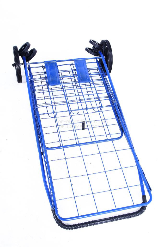 DLUX Set Of 2 Blue Folding Shopping Cart With Front Swivel Wheels And Extra Double Basket With Liner - Jumbo Size