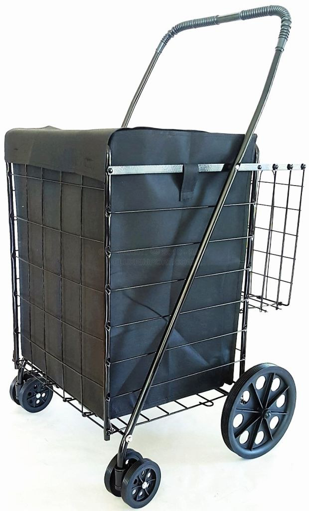 DLUX Black Shopping Folding Cart With Front Swivel Wheels And Bonus Extra Basket With Liner- Jumbo size