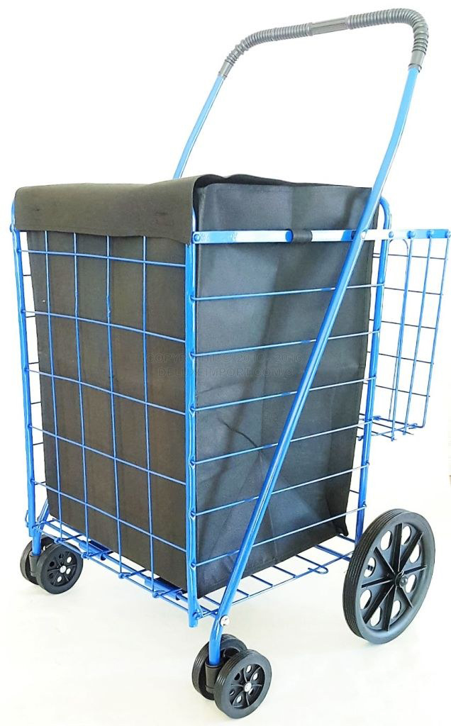 DLUX Blue Folding Shopping Cart With Front Swivel Wheels And Extra Double Basket With Liner - Jumbo Size