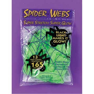 Spider Webs 13 Feet Stretchy Glow in the Dark Green for Halloween by DLUX