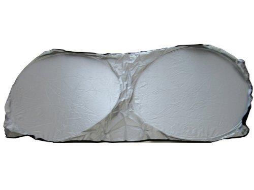 Spring Loop Collapsilbe Dual Circle 1 Piece Auto Sunshade - Metalic Silver Standard Size
