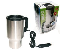 Stainless Steel 16 Oz. Travel Car Mug W Lid & Lighter Plug to Keep Hot