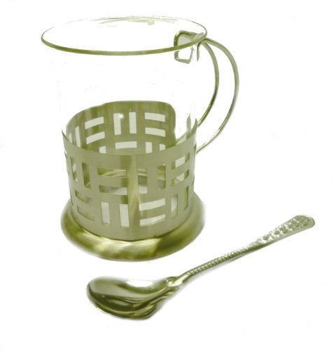 TEA & COFFEE SET 2PC WITH SPOONS STAINLESS STEEL HEAT RESISTANT GLASS