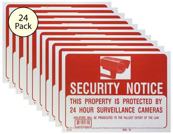 Security Notice Sign 24 Pack S-20